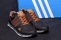 Демисезонные черные мужские кроссовки кожаные Adidas (реплика)
