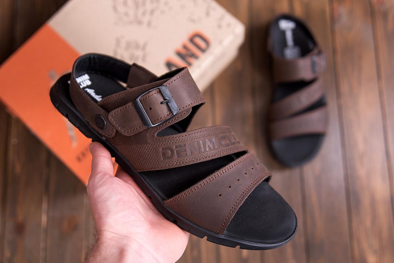 Коричневые мужские сандалии кожаные