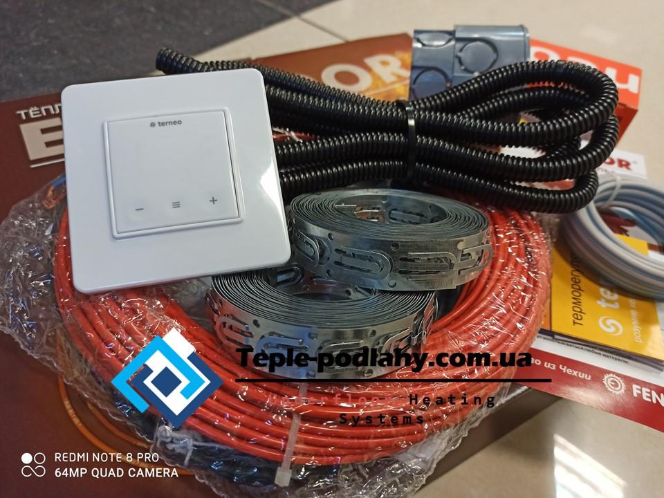 Тонкий кабель Fenix ADSV18160 ( 0.9 м2)  с сенсорным терморегулятором Terneo S (полный комплект)