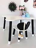 Столик четырехлистник и 1 черно-белый стул мишка, фото 2