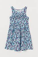 H&M летнее Трикотажное бирюзовое платье в цветы с оборкой размер 8-10 лет рост 134-140