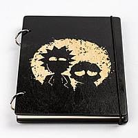 Скетчбук Rick and Morty. Блокнот с деревянной обложкой Рик и Морти