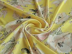 Ткань Шелк сатин сад пионов, бежевый на желтом
