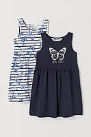 H&M Летний комплект два платья сарафана Темно-синий/Бабочки 4-6 лет рост 110-116