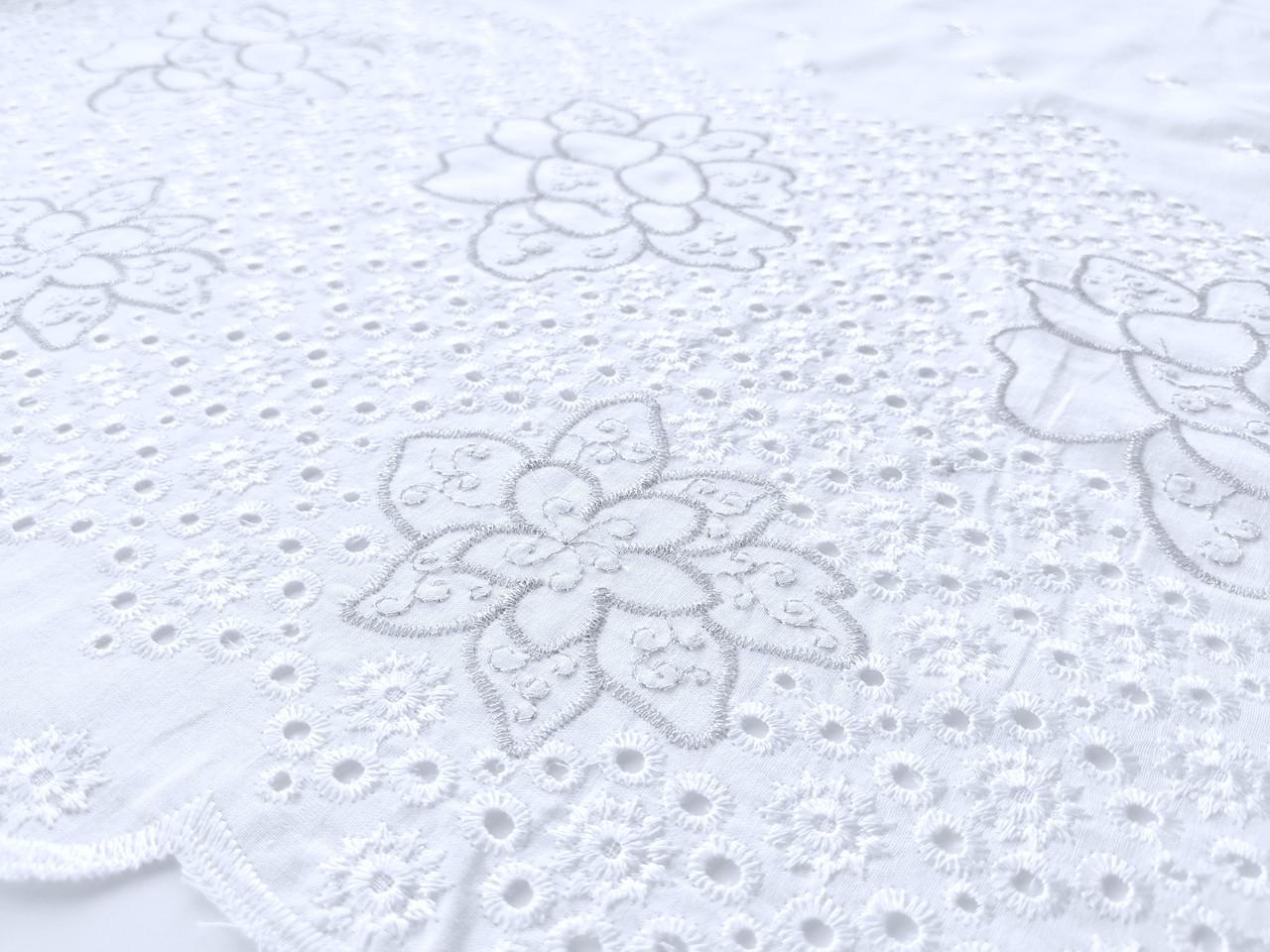 Коттон вышивка купон цветок, белый