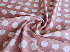 Коттон нейлон рисунок горох 25 мм, розовая пудра
