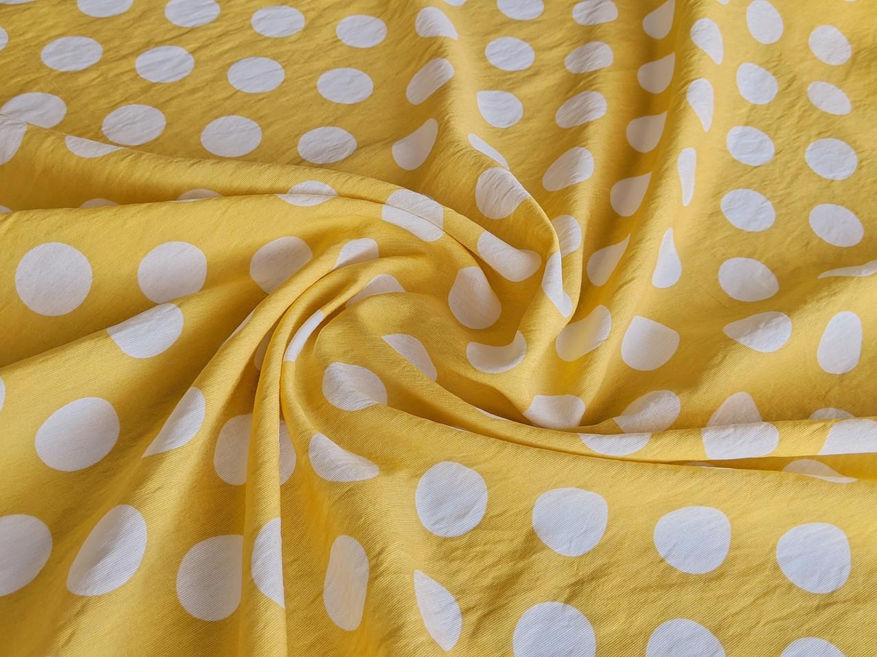 Ткань Штапель нейлон горох 25 мм, желтый