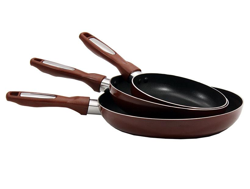 Набор сковородок с тефлоновым покрытием  3 шт D 22-24-26 без крышки