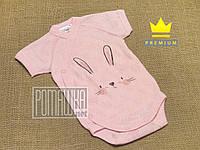 Летний с дырочками р 56 0-1 мес боди с коротким рукавом для новорожденных малышей швы наружу АЖУР 7023 Розовый