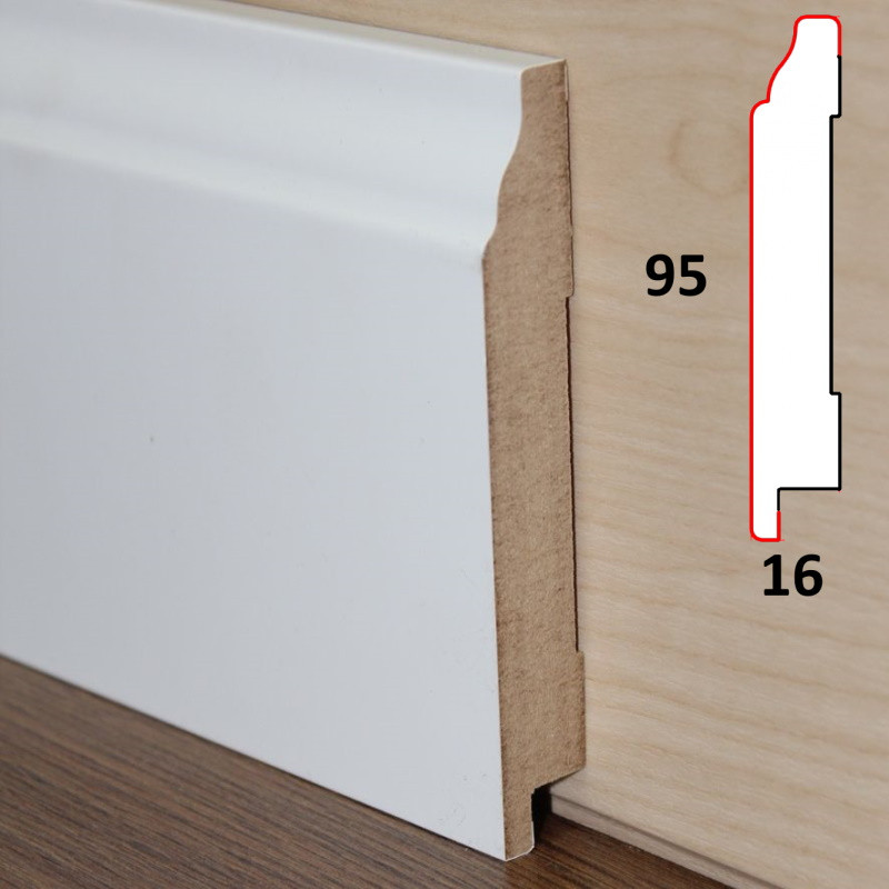 Плинтус из МДФ оклееный ламинационной плёнкой, высота 95 мм, 2,8 м