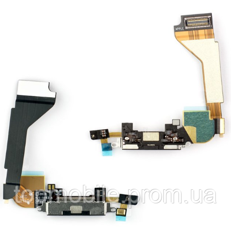 Шлейф iPhone 4, с разъемом зарядки, с микрофоном, черный