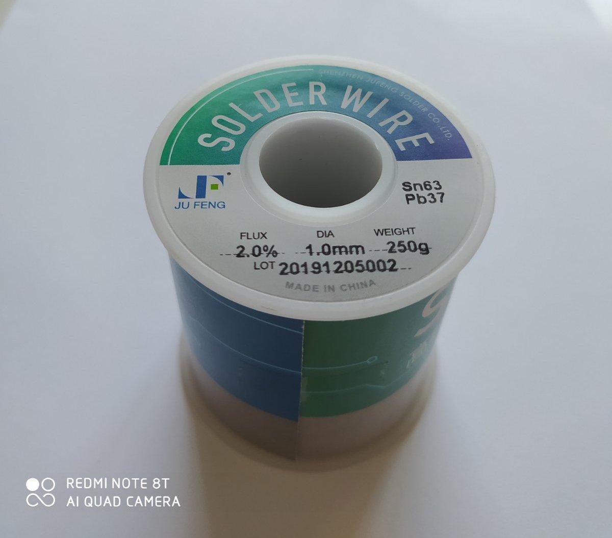 Припой Jufeng ПОС-63 (Sn63/Pb37),  диам. 1мм, 250гр.катушка