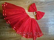 Пышная красная фатиновая юбка балерины на 2-8 лет