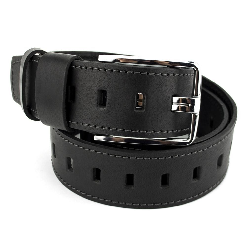 Ремень мужской кожаный под джинсы широкий черный SF-451 (125 см)