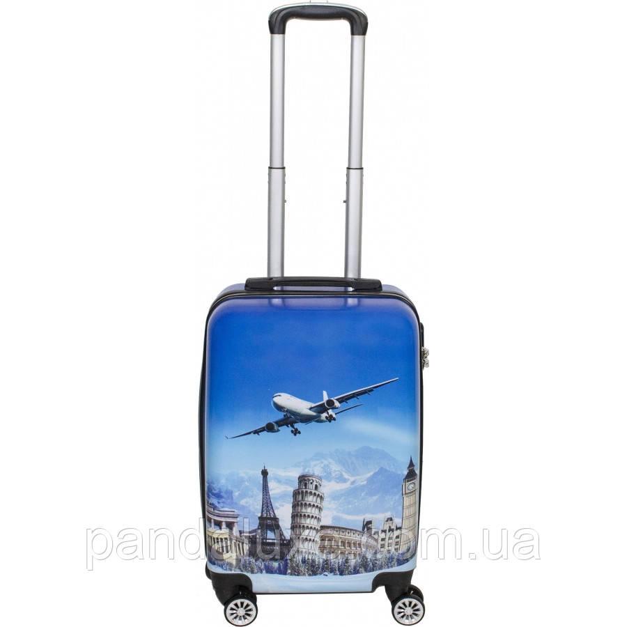 Пластиковый чемодан кейс с рисунком для путешествий на колесах 55х36х23см с кодовым замком