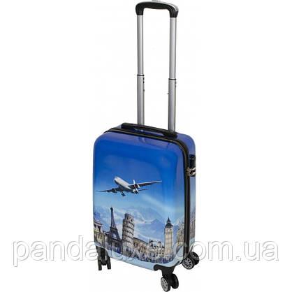 Пластиковый чемодан кейс с рисунком для путешествий на колесах 55х36х23см с кодовым замком, фото 2