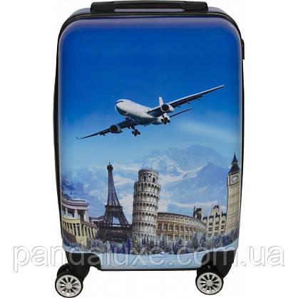 Пластиковый чемодан кейс с рисунком для путешествий на колесах 55х36х23см с кодовым замком, фото 3