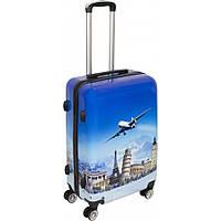 Пластиковый чемодан кейс с рисунком для путешествий на колесах № BL-316 24 дюйма с кодовым замком