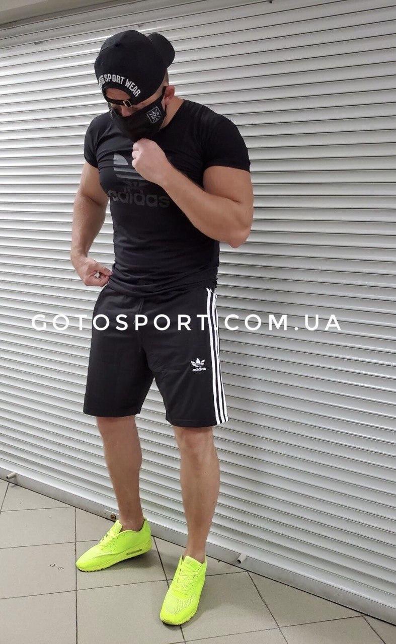 Мужской спортивный костюм (футболка и шорты) Adidas Total Black