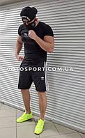 Мужской спортивный костюм (футболка и шорты) Adidas Total Black, фото 1