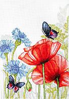 Набор для вышивания нитками LUCA-S Маки и бабочки (BU4018)