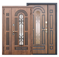 Входная металлическая дверь со стеклопакетом и ковкой Vikont 95mm Vinorit Грецкий Орех/ Грецкий Орех