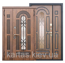 Входная металлическая дверь со стеклопакетом и ковкой Vikont 95mm Vinorit Грецкий Орех/ Грецкий Орех (1200)