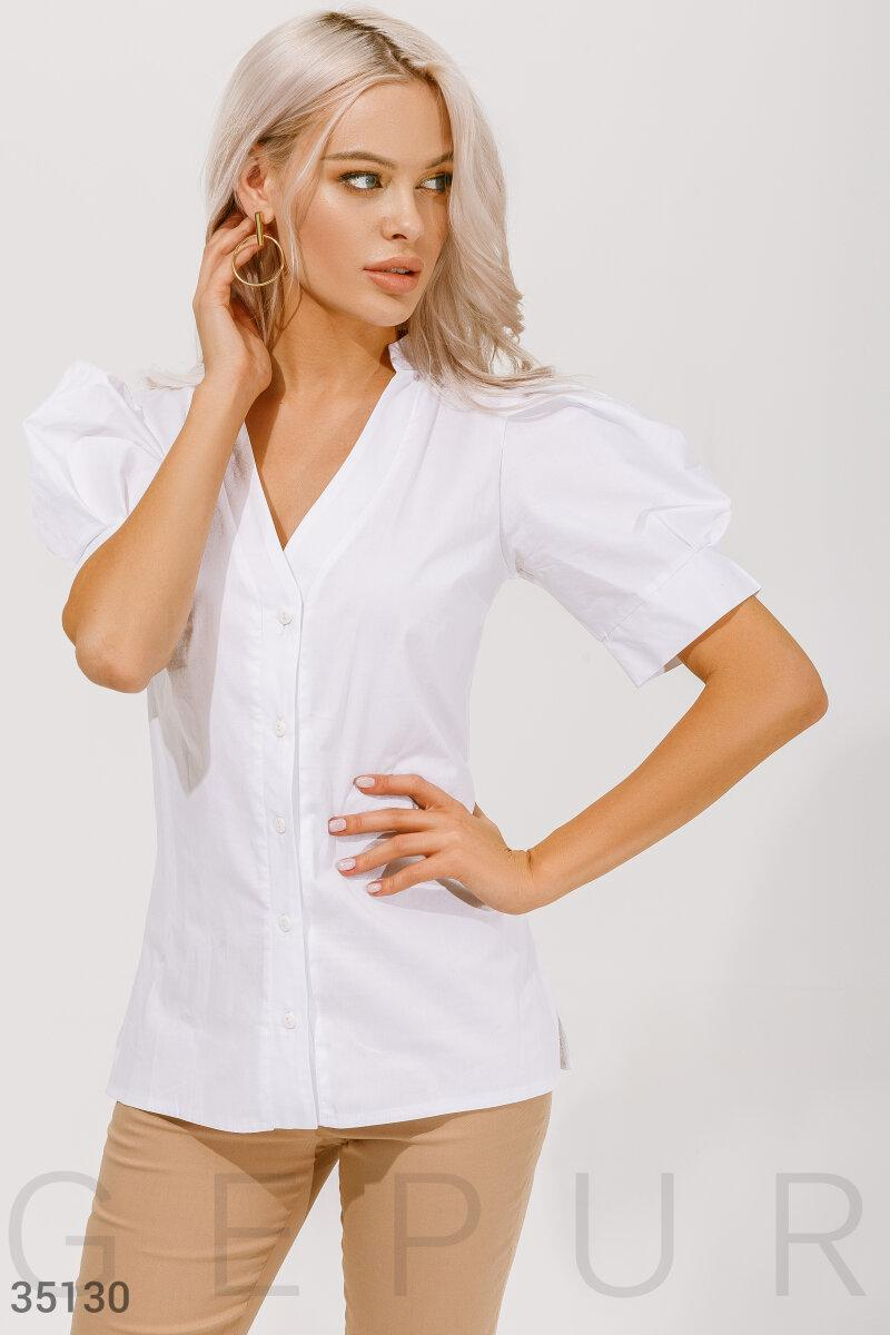 Бавовняна сорочка з коротким рукавом, біла