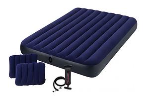 Надувной матрас с подушками и насосом Intex 152 х 203 х 25 см Синий (64765), фото 2