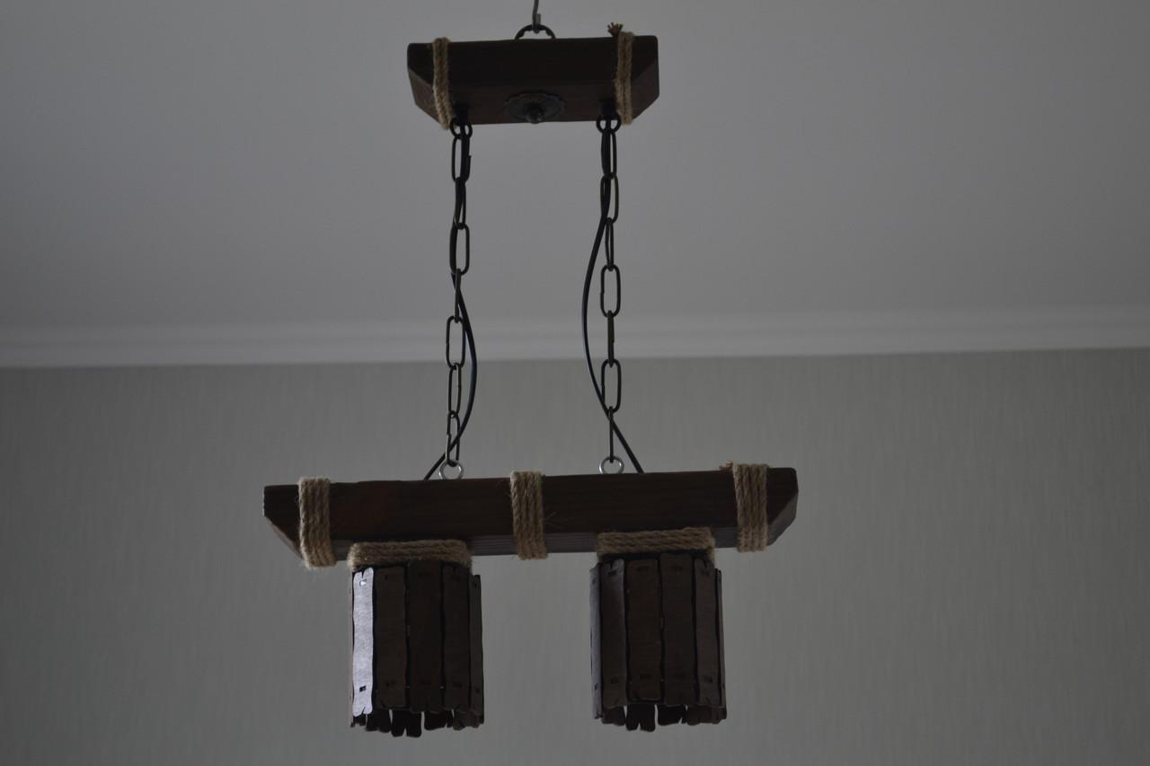 Люстра підвіс з натурального дерева на 2 лампи. 117602/1