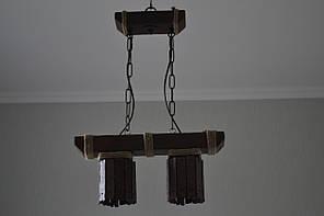 Люстра подвес из натурального дерева на 2 лампы. 117602/1