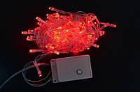 Електрогірлянда світлодіодна, 100 ламп, червона, 5 м., 8 режимів мигання, прозорий провід.