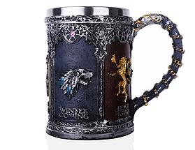 Кружка Чашка Бокал 3D  Нержавеющая Сталь Игра Престолов Game Of Thrones Winter Coming