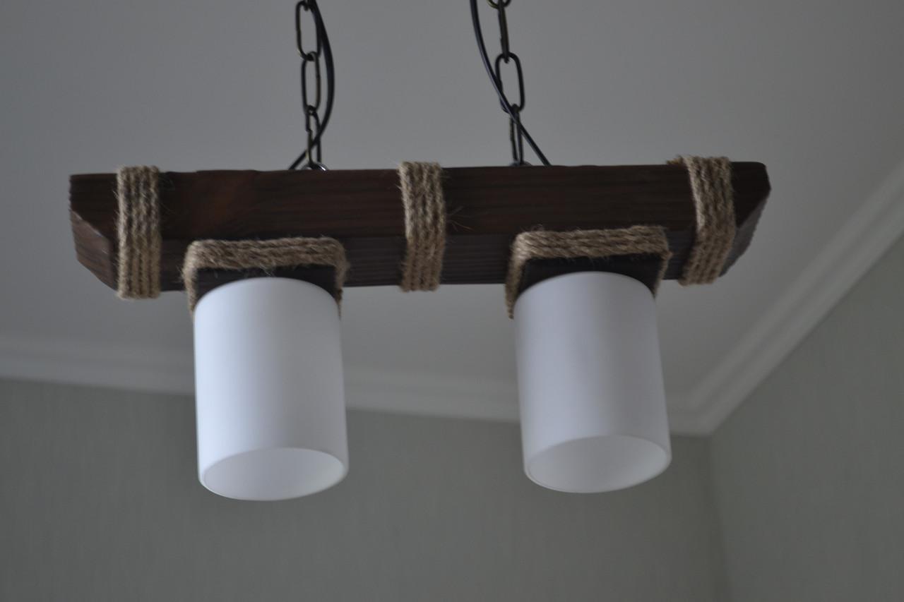 Люстра підвіс з натурального дерева на 2 лампи. 117602/4