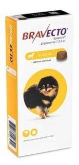 Bravecto 2-4,5 кг (таблетки від бліх і кліщів) (1 таблетка)