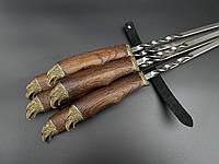 Шампура Соколиная охота комплект шампуров с деревянными ручками в кожаном колчане 6шт