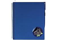 Зошит на спіралі 175х206 мм, пластикова обкл. з кольровою наліпкою та ручкою «Splash» темно синій