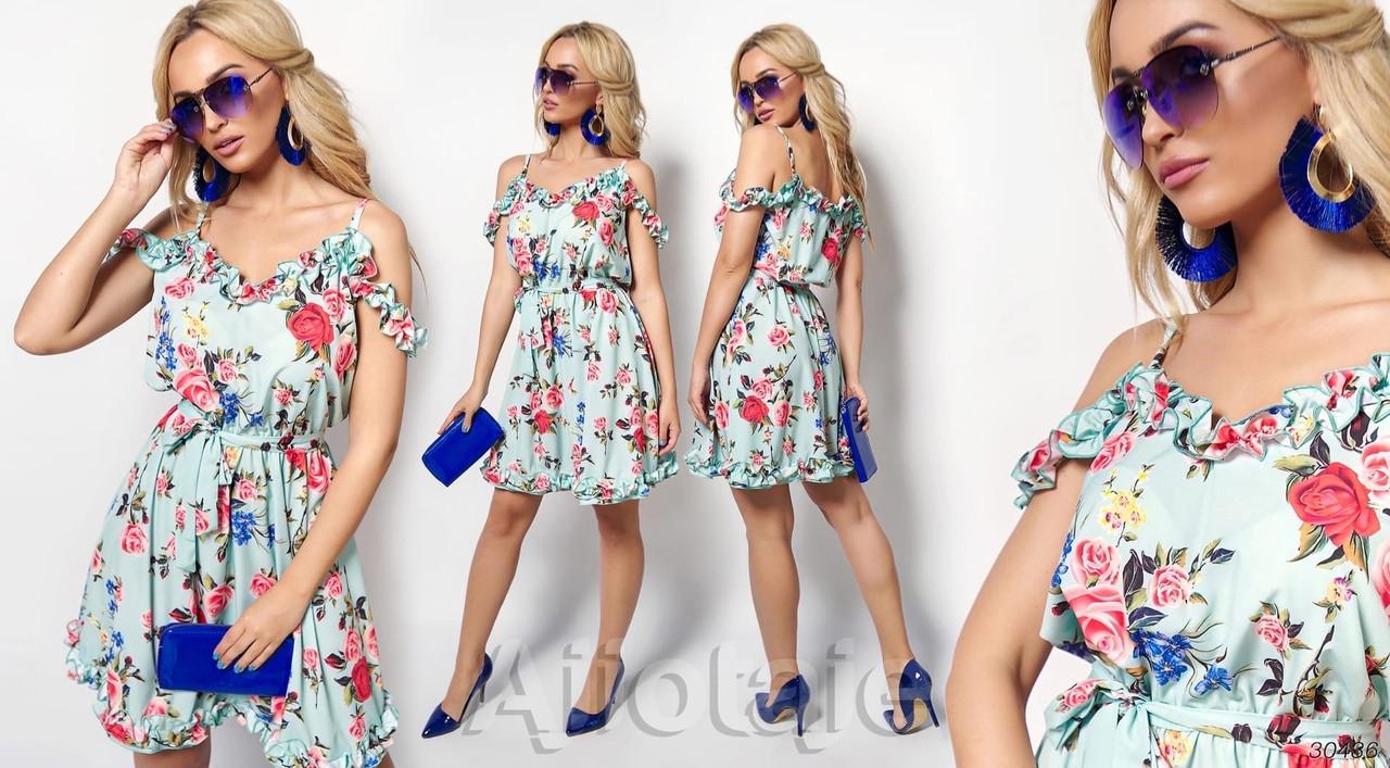 Летнее легкое платье с рюшами и открытыми плечами, разные цвета Р-р.S-M; L-XL  Код 739Д