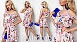 Летнее легкое платье с рюшами и открытыми плечами, разные цвета Р-р.S-M; L-XL  Код 739Д, фото 3