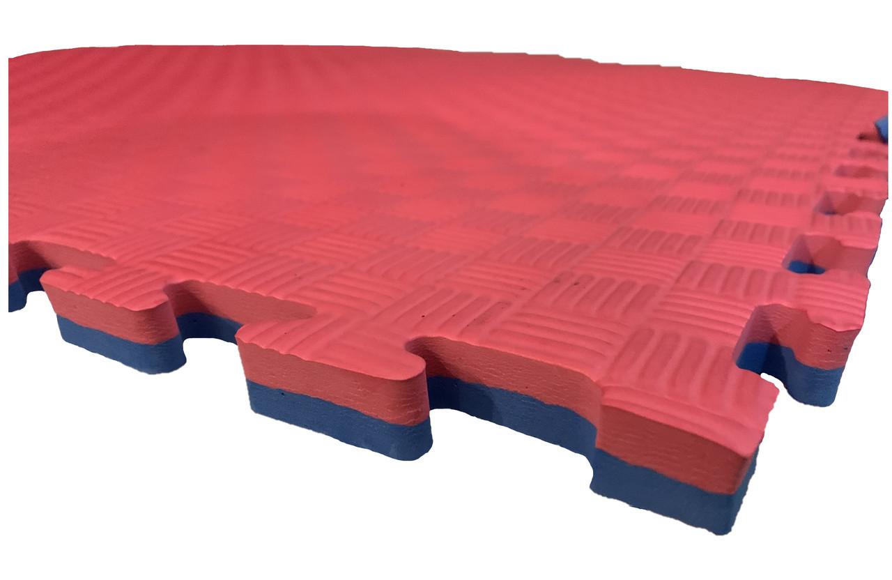 Коврик-пазл EVA,  татами ласточкин хвост, красно-голубой т. 25 мм, размер 100х100 см, плотность 80 кг/м3