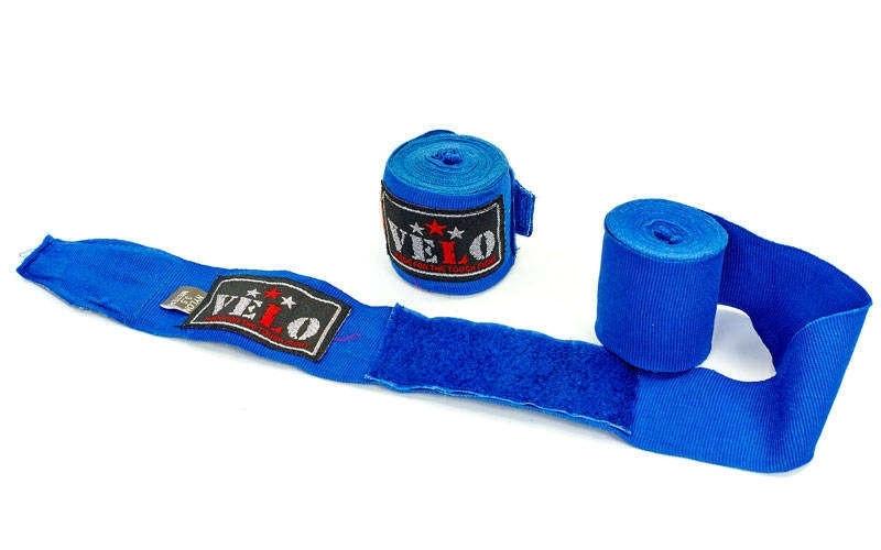 Бинты боксерские профессиональные эластичные 4,5 м VELO AIBA (синий)