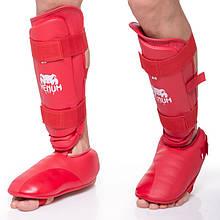 Защита голени с футами для единоборств VENUM, PU, р-р S-XL, красный (MA-5857-R)