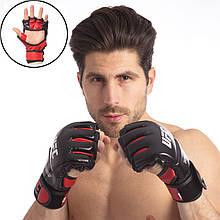 Перчатки для смешанных единоборств MMA, кожа, р-р S-XL, красный (UFC08-(rd))