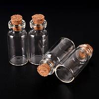 Бутылочка стеклянная с корковой пробкой 50х22 мм, 12 мл