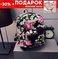 Женские маленькие рюкзачки с цветами + подарок часы код-198