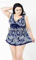 Танкини большой размер 56, сине-белый купальник-платье