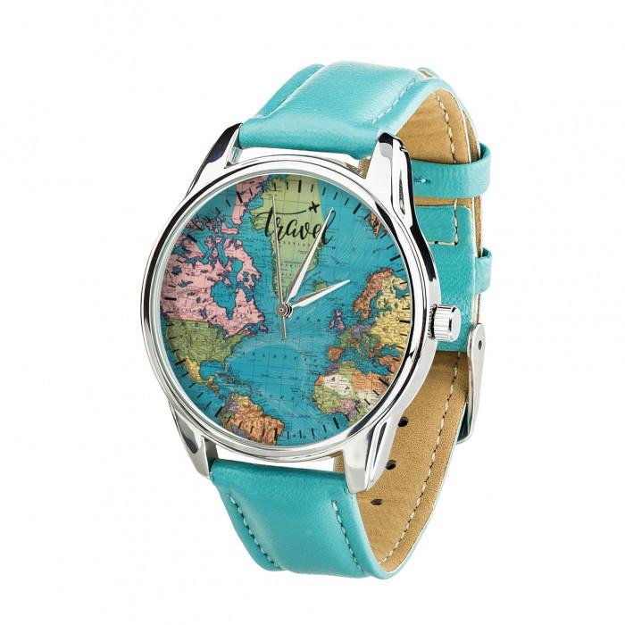 Часы Ziz Карта путешествий с дополнительным ремешком, ремешок небесно-голубой, серебро SKL22-228873