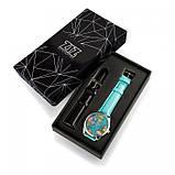 Часы Ziz Карта путешествий с дополнительным ремешком, ремешок небесно-голубой, серебро SKL22-228873, фото 3