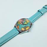 Часы Ziz Карта путешествий с дополнительным ремешком, ремешок небесно-голубой, серебро SKL22-228873, фото 4