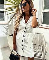 Платье-рубашка однотонное женское БЕЛОЕ (ПОШТУЧНО)